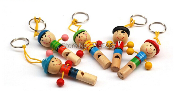 12pcs cute wooden whistle keychain kids happy birthday party supply gift girl boy baby shower favors souvenirs return gift