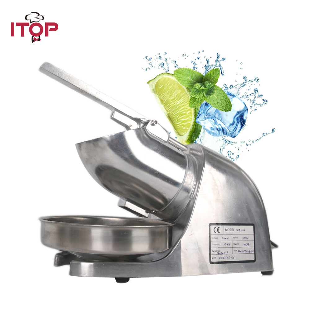 ITOP Commercial Stainless Steel Ice Crushers Shavers Machine ice slush sand maker For Tea Shop Restaurant EU/UK/US Plug