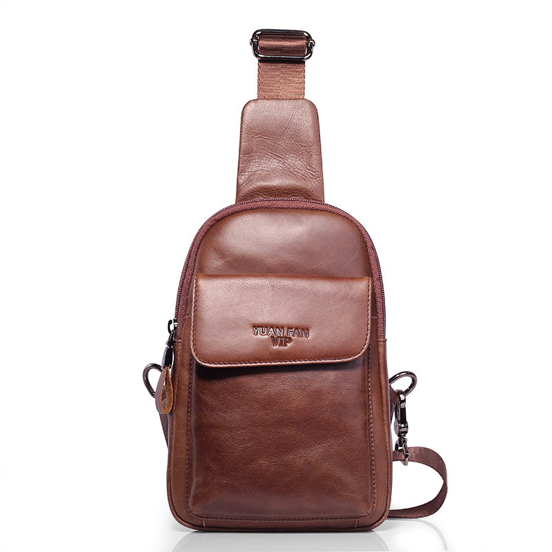 Brand Fashion Genuine Leather Casual Sling Bag Men's Chest Pack Crossbody Shoulder Bag Messenger Bags For Travel Leisure feidikabolo famous brand theftproof magnetic button open leather mens chest bags fashion travel crossbody bag man messenger bag