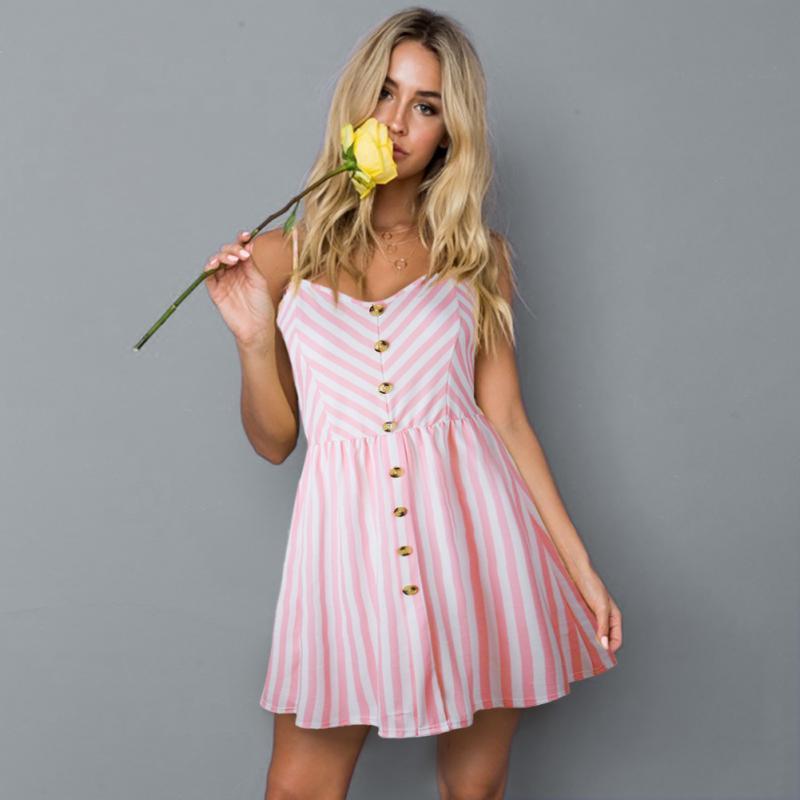 7407bb9fc5 Hot Women Holiday Strappy Button Pocket Ladies Summer Beach Midi Swing Sun  Dress