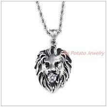 40 mm * 26 mm 14 g fina talla Punk acero inoxidable 316L Vintage ' s de la joyería rey león blanco colgante , collar de piedra de la CZ cadena de la cuerda