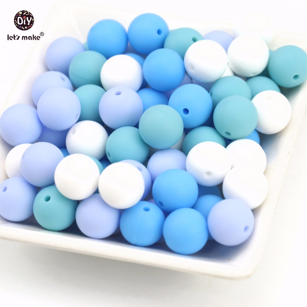 Let's Make 10PC Blue Series 15MM BPA Free Food Grade Loose Silicone Beads DIY Bracelets Chewing Jewelry Accessorie Teethers