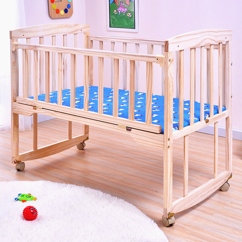 Multifunctional Baby Wooden Bed Large Space Baby Cribs Solid Wood Baby Cradle Bed Vary Desk Baby