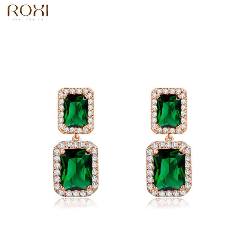 bb64ea829a85f هدية التخرج روكسي جديد الأزياء والمجوهرات وارتفع الذهب اللون أنيقة الأخضر  كريستال إسقاط أقراط للنساء حزب شحن مجاني