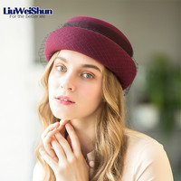 2018 New Elegant Hat Warm Wool British Retro Style Berets Hat For Women Dinner Party Hat With Black Grenadine