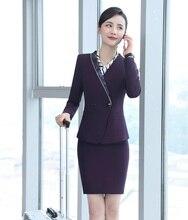 Novo 2019 Moda Roxo Saia e Conjuntos de Jaqueta Blazer Mulheres Ternos de Negócio  Trabalho Desgaste 7de65a03c8fe6