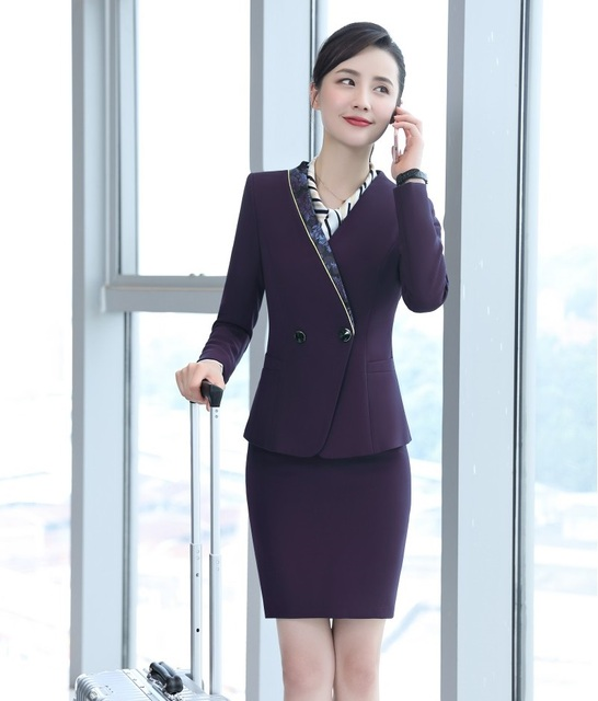 51d1a547f50b New 2019 Fashion Purple Blazer Women Business Suits Skirt and Jacket Sets  Work Wear Ladies Office