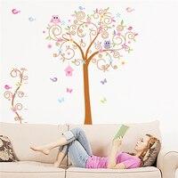 De dibujos animados búho mariposa birds tree pvc pegatinas de pared para la sala de estar dormitorio decoración arte de la pared pegatinas diy carteles