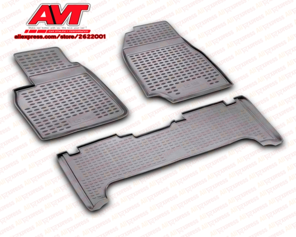 Floor mats for Toyota Land Cruiser 100 1998-2007 3 pcs rubber rugs non slip rubber interior car styling accessories floor
