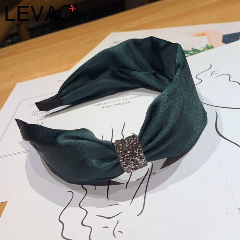 LEVAO Bohemian Style Rhinestone Side Headband Hair Accessories Girls Knotted Bezel Turban Wide Size Hair Hoop For Women Hairband