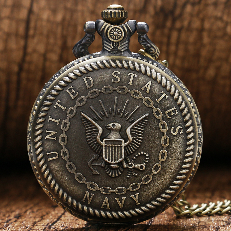 Retro Cool Bronze United States Navy Theme Quartz Fob Pendant Pocket Watch With Necklace Chain Free Drop Shipping