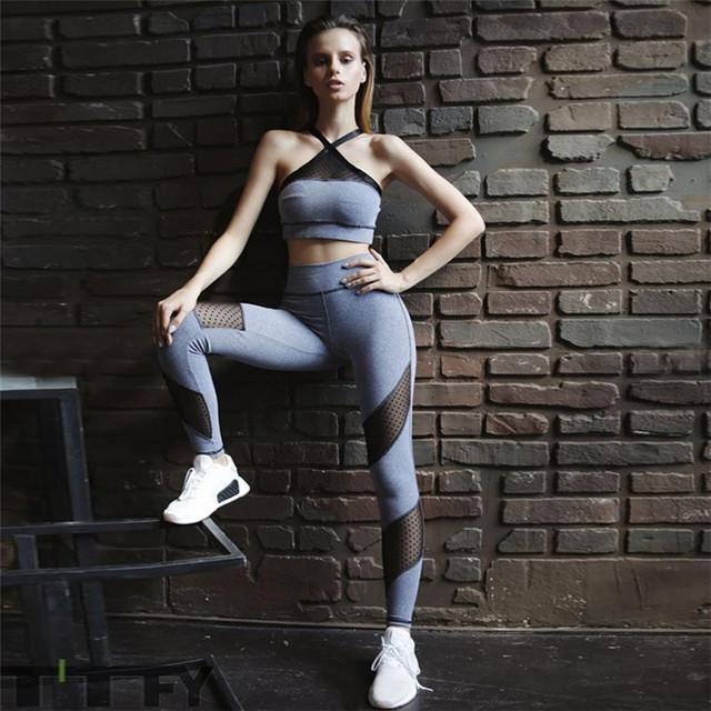 Women's Polka Dot Mesh Detail Yoga Bra and Leggings Set  S-L
