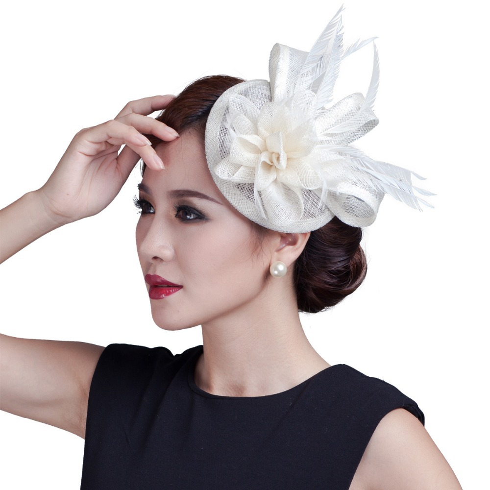 eca6fd481d2 high quality 2018 mini disc flower sinamay fascinator with feather for race    wedding multicolor in stock!