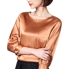 2019 autumn pink satin shirts women office o-neck blouses lady work wear silk top shirt bat sleeve blouse plus size