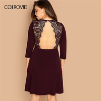 COLROVIE Plus Size Maroon Solid Zipper Back Contrast Lace Party Dress Women  2019 Spring Korean Backless 62d153a7fe38