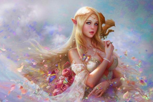 Canvas Fabric Poster Custom Print Fantasy Girl Elf And