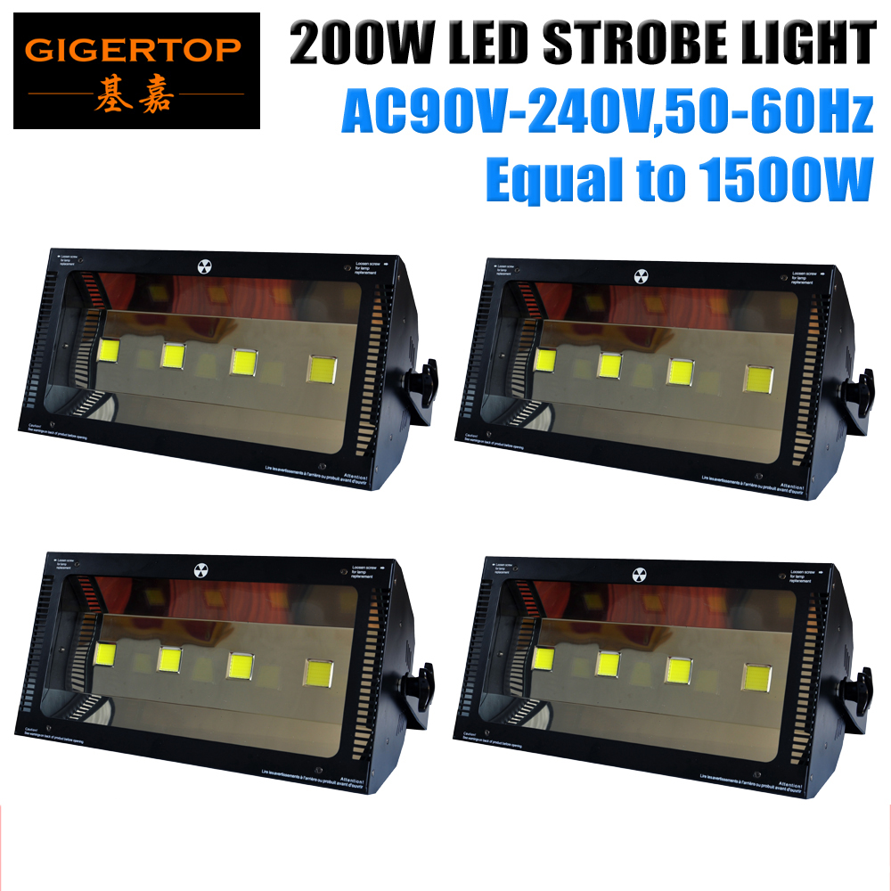 TIPTOP 4XLOT CE ROHS Automic Led DMX 200W Stage Strobe Light Bulit in Power Cable Martin Model DMX 1/3/6 Control Mode 90V-240V