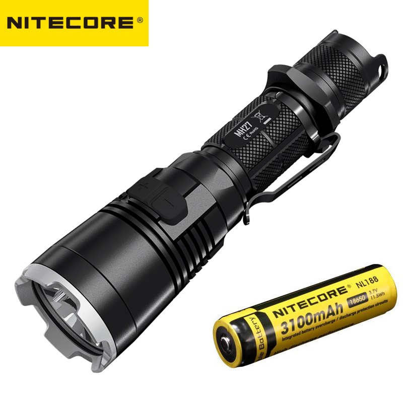 Original Nitecore MH27UV CREE XP-L HI V3 365nm Ultraviolet Red Blue UV LED Flashlight With 3100mah Battery + USB Recharging