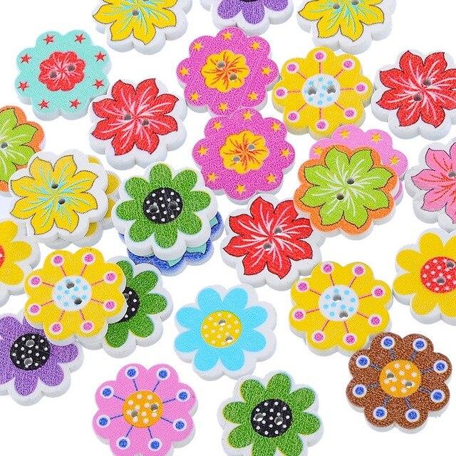 50 Stks Groothandel Natuurlijke Houten Knoppen Kleurrijke Gemengde Bloemen Wave Rand Plakboek Naaien Accessoires DIY Craft 2 Gaten 20x19mm