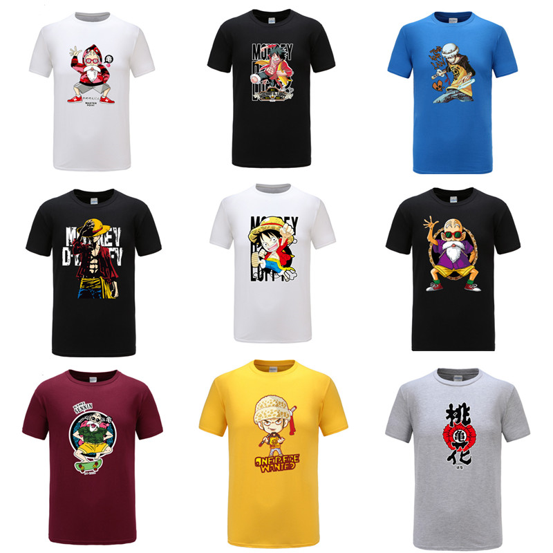 Luffy T-shirt Camisa Masculina Latest Fashion T-shirts Gildan New Arrival Anime One Piece Men T Shirt 2019 Summer Harajuku T-shirts Men Cotton Monkey D