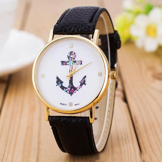a95f9d555da Relogio feminino mulheres relógios 2018 marca de luxo Do Vintage Flor  Âncora Couro Pu Relógio De .