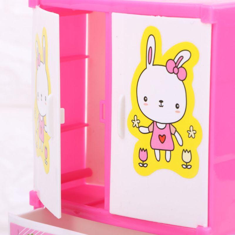 Cute Rabbit Closet Wardrobe Dollhouse Furniture For Girls Toy Princess Bedroom