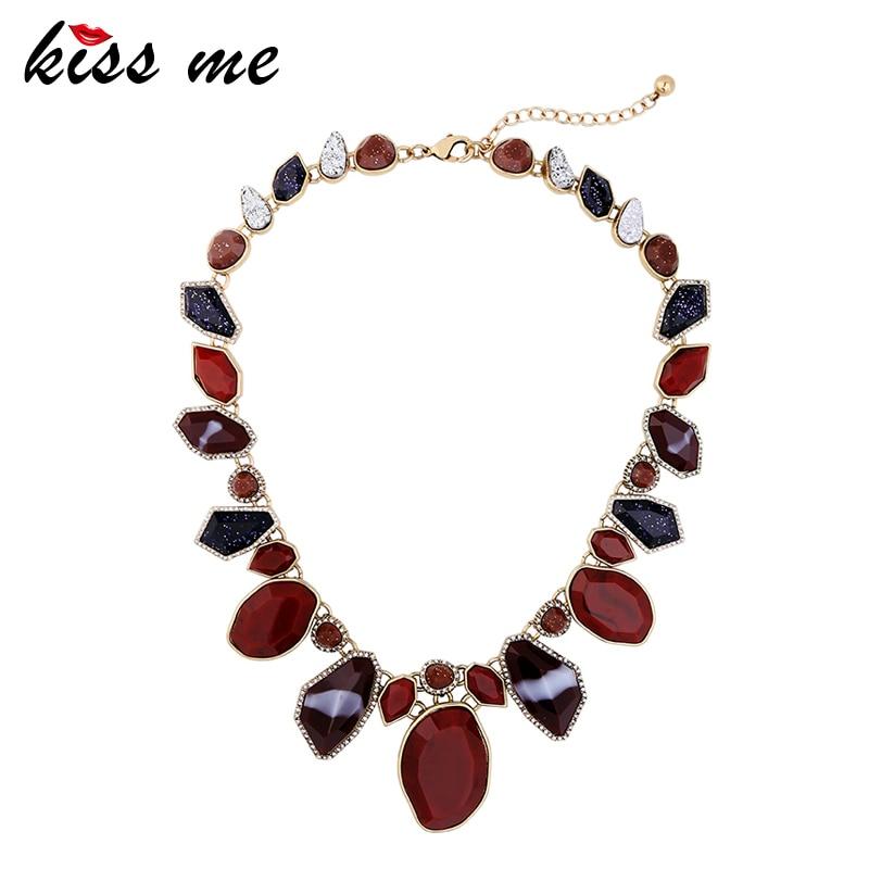 KISS ME Brand Multi Color Geometric Statement Necklace Charm Alloy Vintage Choker Necklace Fashion Jewelry alloy fringe statement necklace