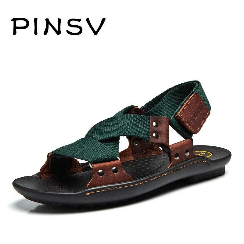 Sandálias de verão Homens Moda Designers Sandalias Hombre Sapatos de Praia  Sandálias Dos Homens Chinelos de Couro Da Marca Para Homens Zapatos bc67854e44