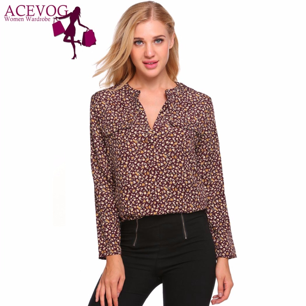 ACEVOG New Womens Blouse Shirt Spring Autumn Casual Loose V-Neck Long Sleeve Floral Print Fall Ladies Shirts Female Blauses ...