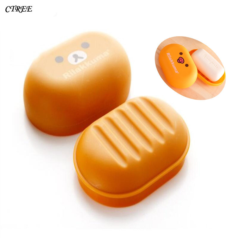 CTREE Hot Sale Portable Soap Dishes Cute Cartoon Bear Box Case Holder Wash Dust-proof Shower Home Bathroom Accessories Set C29