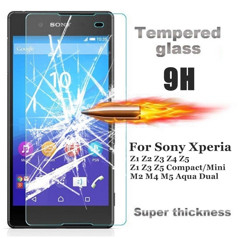 HD Premium Tempered Glass for Sony <font><b>Xperia</b></font> Z1 Z2 <font><b>Z3</b></font> Z4 Z5 Compact C3 C4 M2 M4 M5 Aqua Screen Protector Case Protective Film <font><b>Cover</b></font>