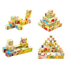 Six-face Picture 3D Puzzle Wooden Jigsaw Toys Children's Early Educational Toy Cube Jigsaw Puzzle Baby Kids Gifts children 3d educational block toys six sides 9pcs wooden magic cubes baby transportation jigsaw block cube toys random sent