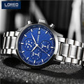 LOREO Men Chronograph WristWatch Stainless Steel Antique Casual Automatic Self-Wind Mechanical Male Sport Auto Date Watch AB2084