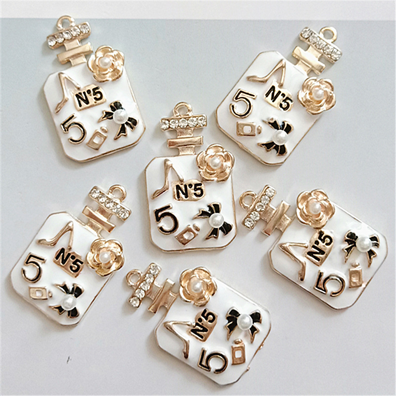 6pcs/lot Big Size Rhinestone Perfume Enamel Charms Gold Tone 41*24mm Pendants Floatings DIY Jewelry Making Handmade Craft YZ520(China)