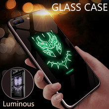 Avengers Superman Luminous Glass Case For iPhone 6 S 7 8 PLUS Captain America Back Cover XS MAX 11 ProMax Phone
