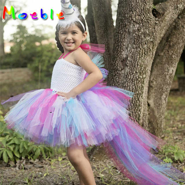 5445254637d3 Unicorn Bustle Girls Dress Rainbow Tutu Dress Baby Dress Up Costume Kids Party  Dresses Children Cosplay Outfits Little Horse