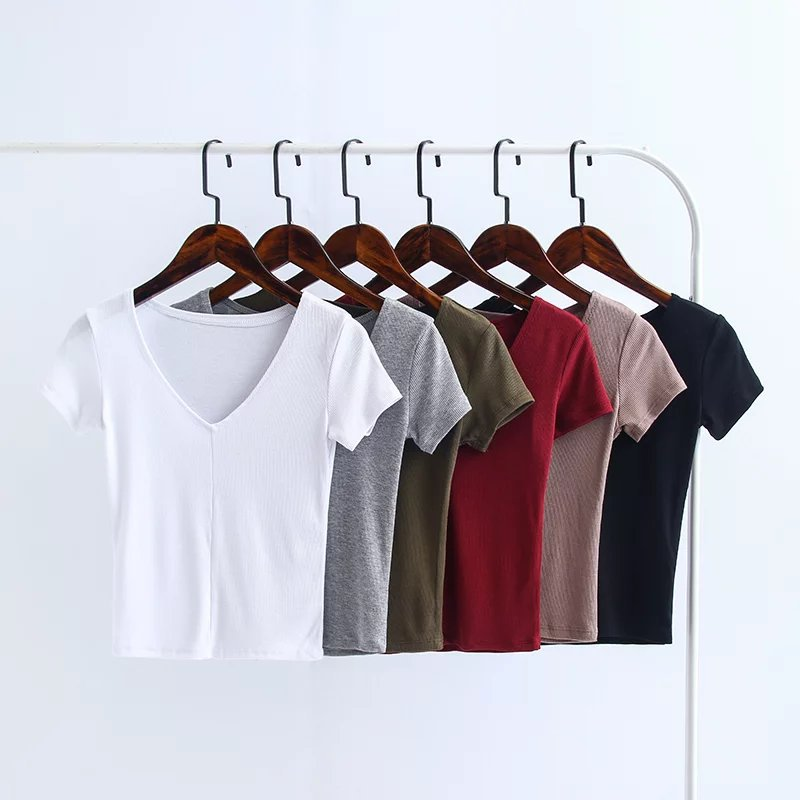 2017 spring summer fashion casual t shirt women sexy v neck crop top short sleeve solid color knitted t shirt poleras de mujer