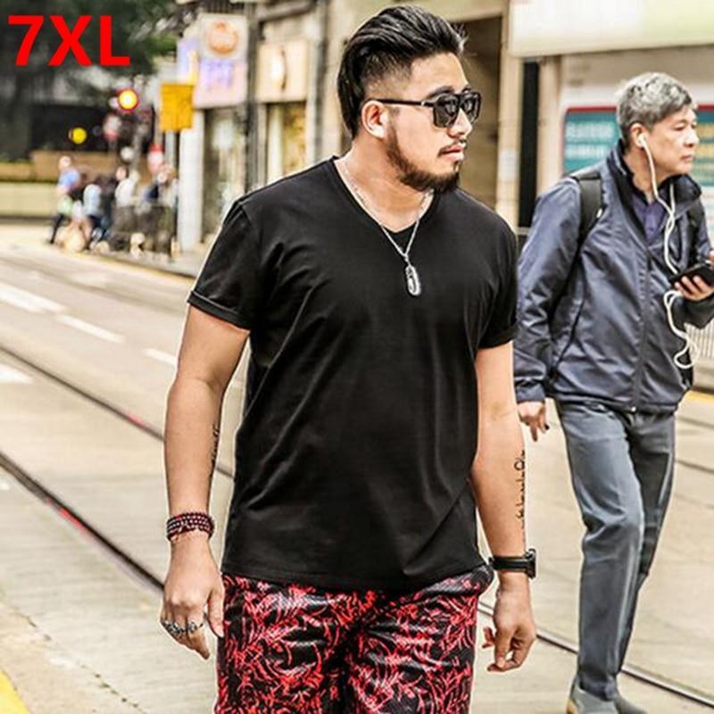 Summer color Big size   shirt   XL Black male men oversize half sleeve   T  -  shirt   collar short sleeved red fat V plus size 7XL 6XL