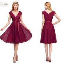 In Stock Burgundy V Neck Sexy Lace Short Bridesmaid Dresses 2019 Plus Size A line Sleeveless Wedding Party Gown