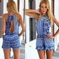 Fashion printing ladies summer beach casual chiffon playsuits hot sexy back hollow out sleeveless short jumpsuit for women