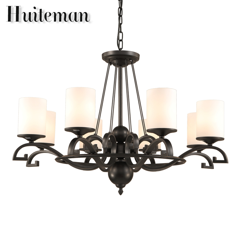 Modern Large Chandelier Ceiling Pendant E27 LED Lighting For Dining Bedroom Hotel Room Hanging Light Fixture Black Chandeliers vintage birdcage crystal chandelier lighting black rustic bird cage pendant hanging light chandeliers lamp for dining room bar