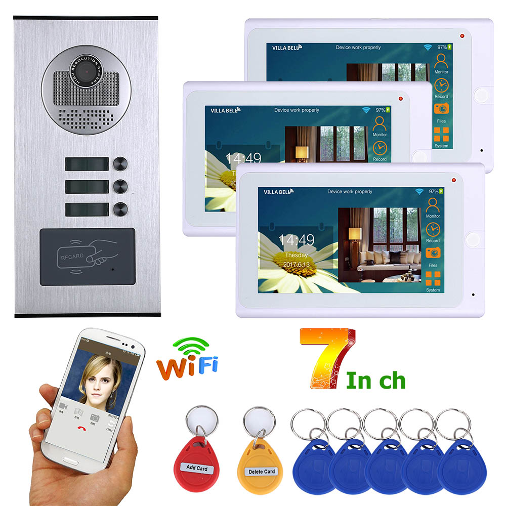 MAOTEWANG Wired Video Intercom Systems 3 Apartments 7 Inch Wifi Video Door Phone System RFID IR-CUT HD 1000TVL Doorbell Camera