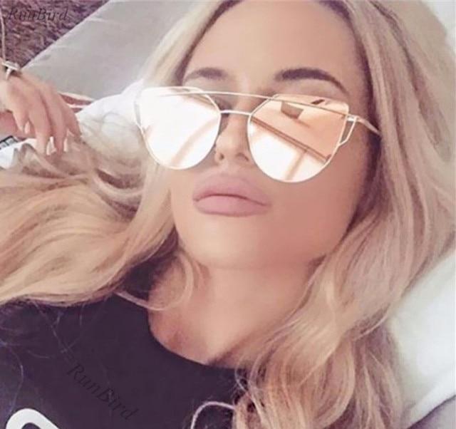 7fc4d835cd Pink Cat Eye Sunglasses Women Classic Brand Designer Twin-Beams Metal Frame  Ladies Sun glasses for Women Oculos Feminino M195