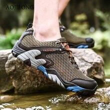 2019 летние Пеший Туризм обувь Для мужчин быстросохнущая водонепроницаемая обувь сетчатые пляжные открытый сандалии для прогулки человек мужские ботинки для похода Trail Обувь