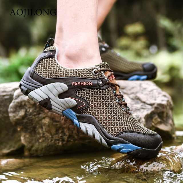 2019 Summer Hiking Shoes Men Quick Dry Waterproof Shoes Mesh Beach Outdoor Hiking Sandals Man Trekking Shoes Men Trail Footwear