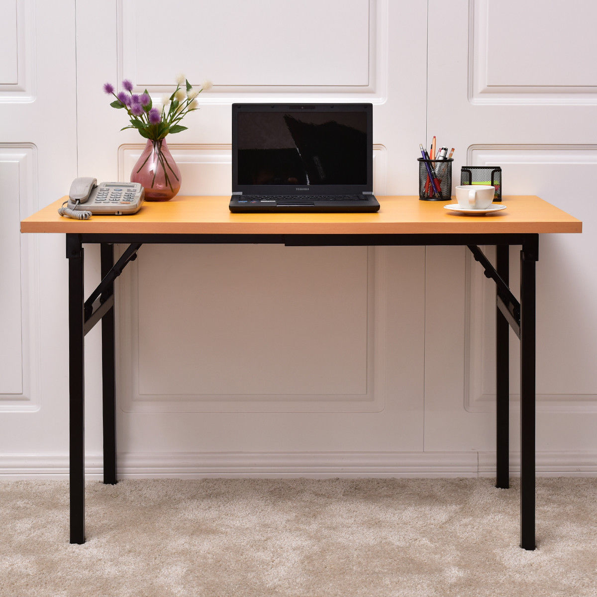 Giantex Portable Folding Computer Desk PC Laptop Table Modern Wood Writing Workstation Home Office Furniture HW56138 giantex height adjustable standing desk converter sit stand computer laptop workstation modern wood furniture hw57064