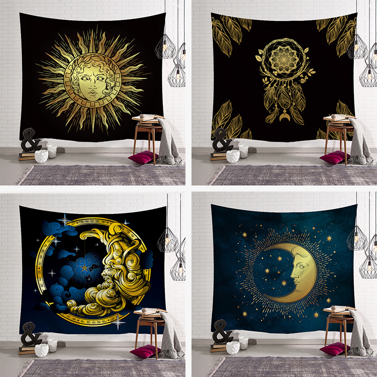 Golden Moon Sun Tapestry Fabric Decor Blanket Yoga Sleeping Mat Large150x130cm Beach Towel Carpet Psychedelic Tapestry Wall Rug