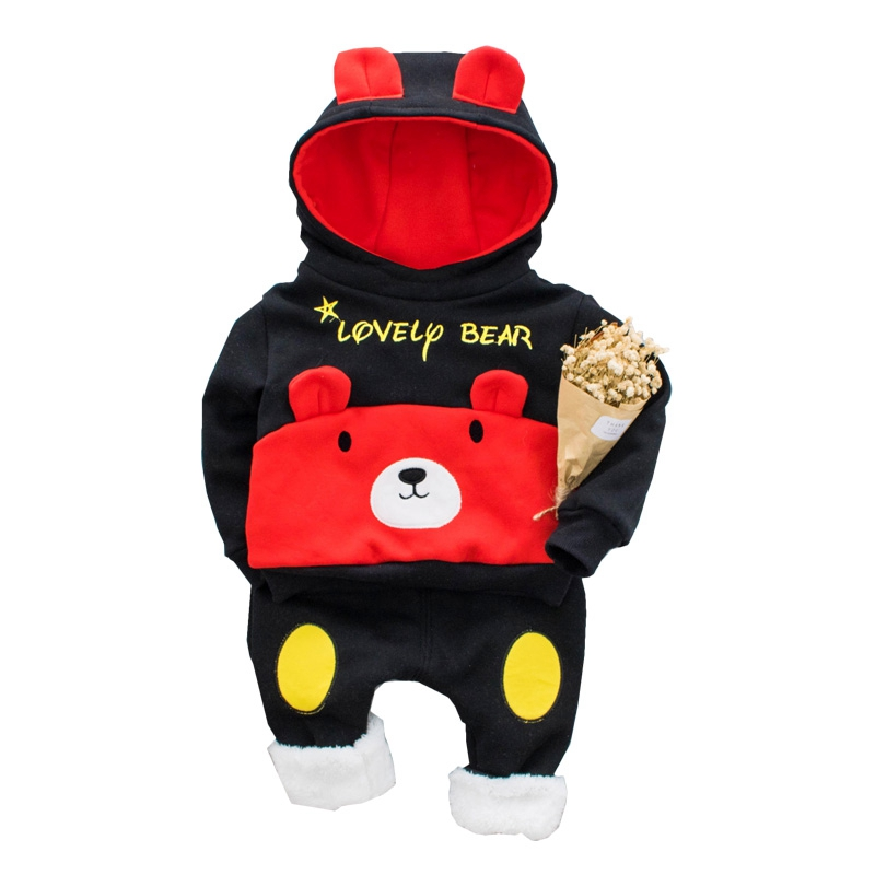 Newborn Winter Fashion Baby 2pcs/sets Infant Boys Clothes Long Sleeve Cute Bear Toddler Soft Cotton Hooded Outfits For Boy Girl ...
