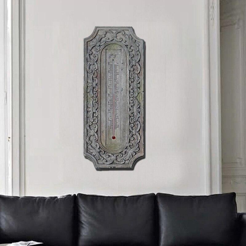 Thermomètre mural Baroque européen rétro résine 3D stéréo décoration murale mur thermographe artisanat de salon ou de cafés