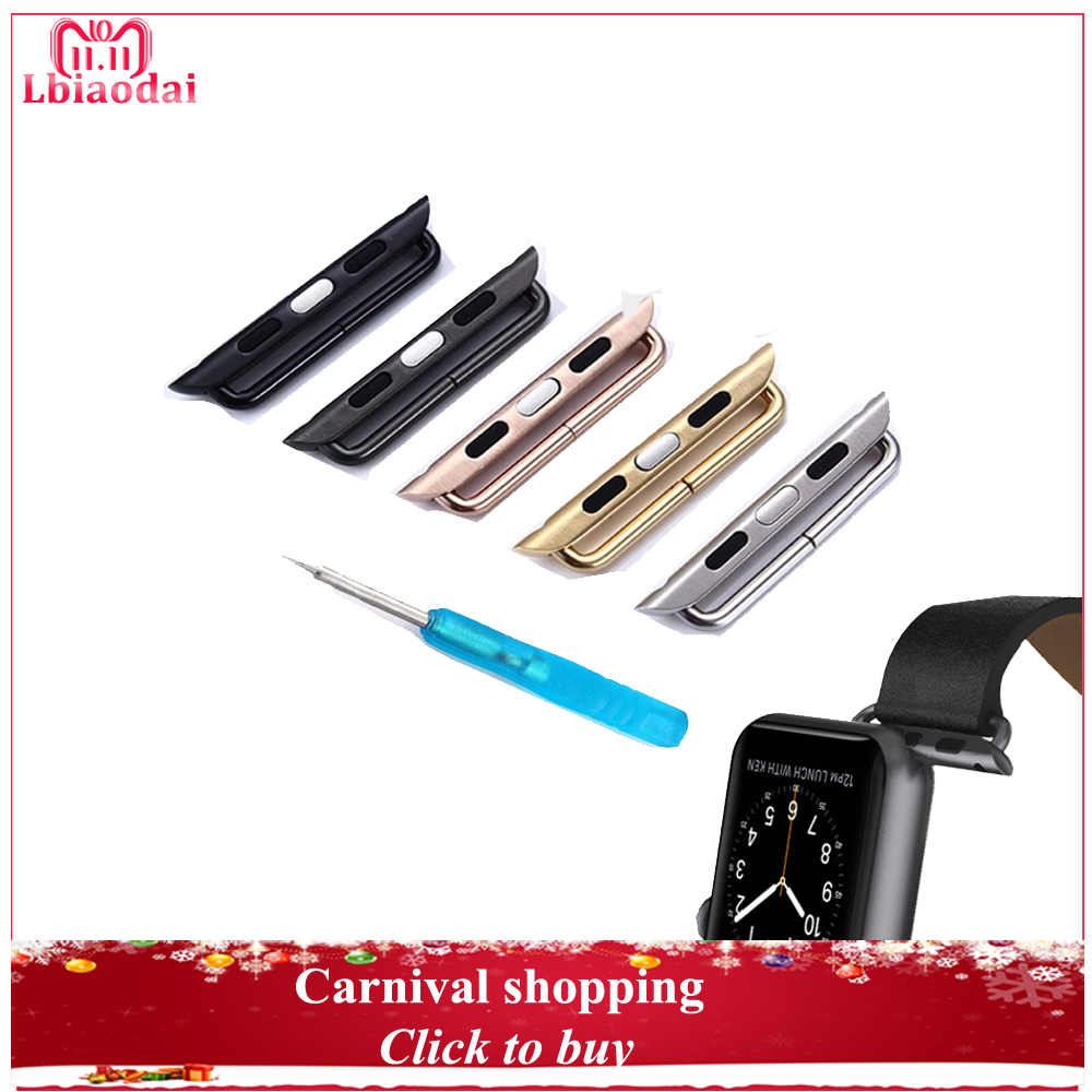 Connector Adapter for apple watch band strap 44mm 40mm 42mm 38mm iwatch series 4 3 2 1 Metal Stainless Steel Connector with tool цены